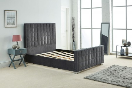 Quilted Design Upholstery Plush Velvet Bed Frame