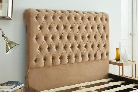 Tuscany Sleigh Plush Velvet Bed Frame