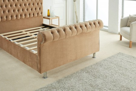 Tuscany Sleigh Plush Velvet Bed Frame foot detail