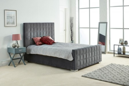 Quilted Design Upholstery Plush Velvet Bed Frame