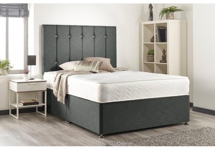 Double Snuggle Linen Fabric Memory Foam Divan Bed Set
