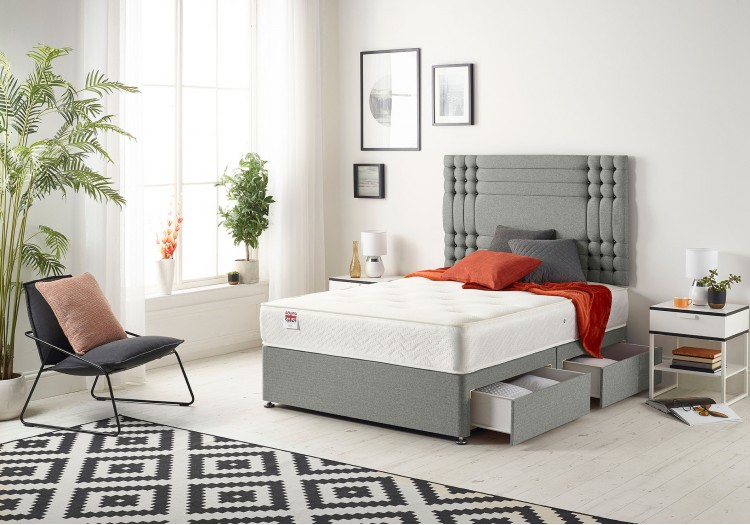 Flexby Divan Bed with Bonnell Sprung Tufted Mattress