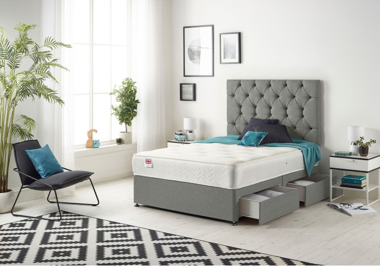 Premium Divan Bed with Bonnell Sprung Tufted Mattress