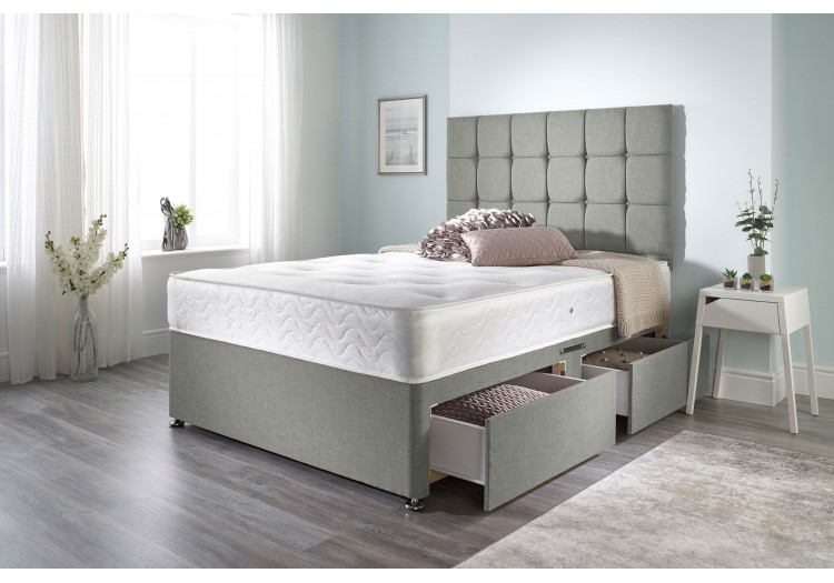 Olive Divan Bed with Bonnell Sprung Tufted Mattress