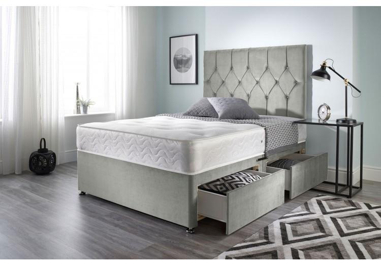 Ziggy Divan Bed with Bonnell Sprung Tufted Mattress