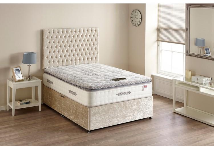 6000 Gold Pillow Top Pocket Sprung Cool Blue Divan Bed Set