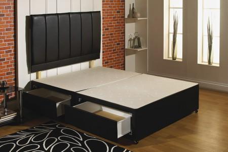 Black Leather Divan Bed Base main image