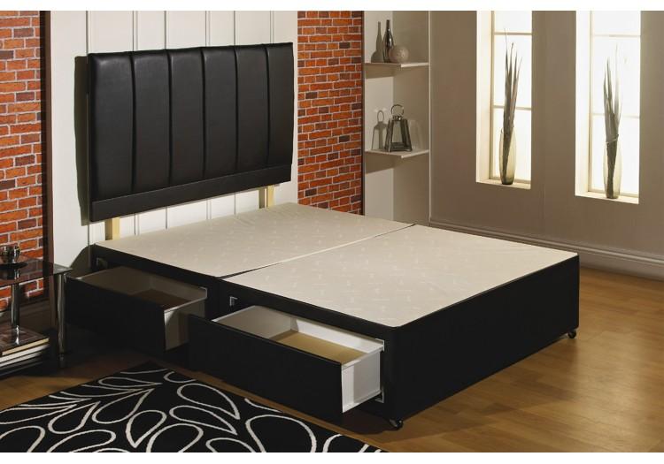 Black Leather Divan Bed Base Only