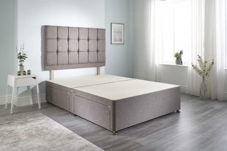 Linen Cubed Divan Bed Base main image