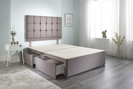 Linen Cubed Divan Bed Base Only